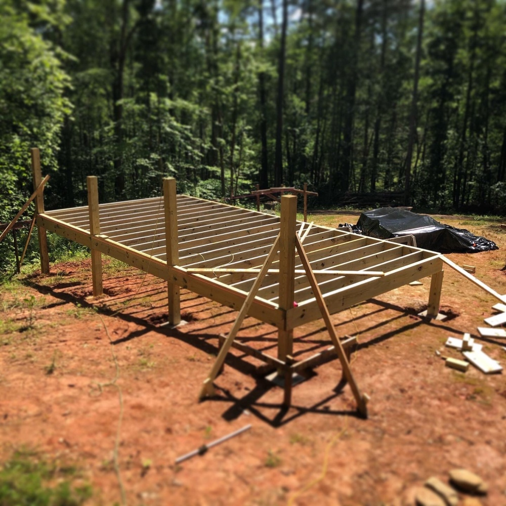 First section of wooden yurt deck frame.
