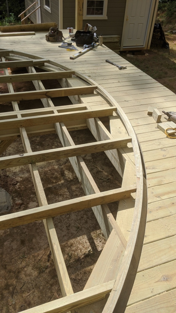 Wooden deck frame with center hole cut and yurt rim support.