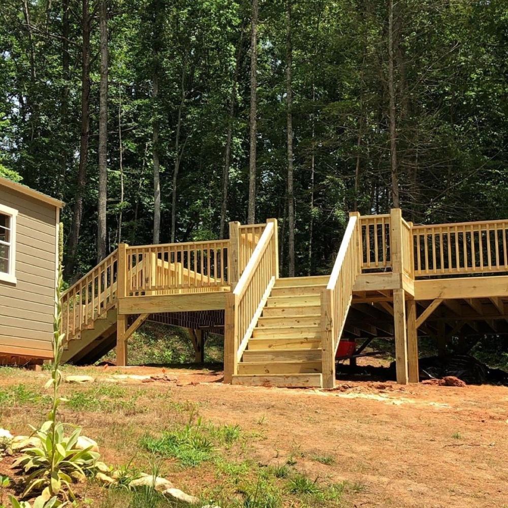 Front view of yurt deck